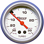 524-04 vac/boost gauge. Silver dial, silver bezel. 30–0–30 psi.