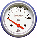 524-20 oil pressure gauge. Silver dial, silver bezel. Electric 100 psi.